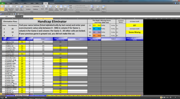 Bowling Prize Fund Spreadsheet Throughout Eliminator  Bracket Excel Software For Sale!  For Sale/wanted