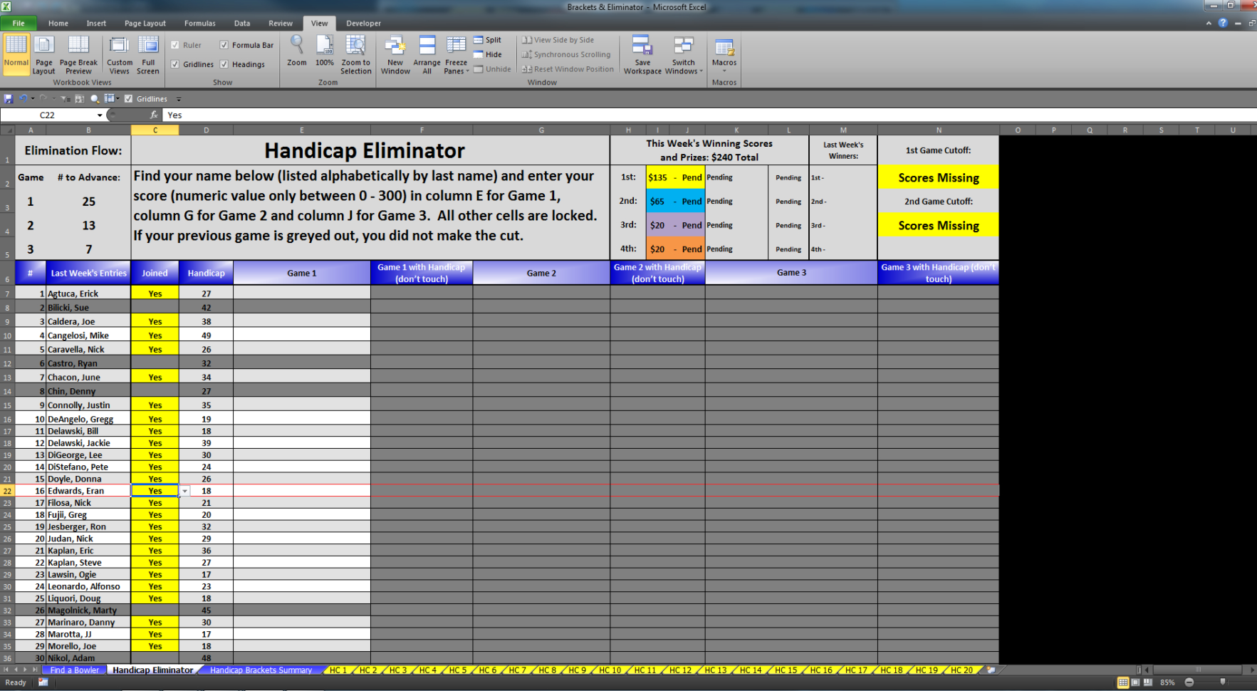 Bowling Prize Fund Spreadsheet With Eliminator  Bracket Excel Software For Sale!  For Sale/wanted