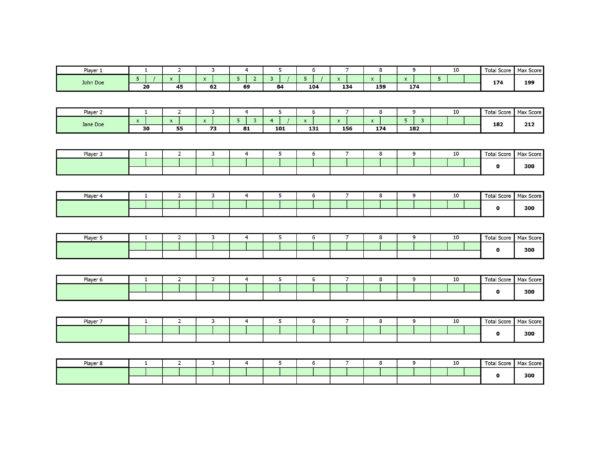 Bowling Spreadsheet For Free Bowling Score Sheet Template