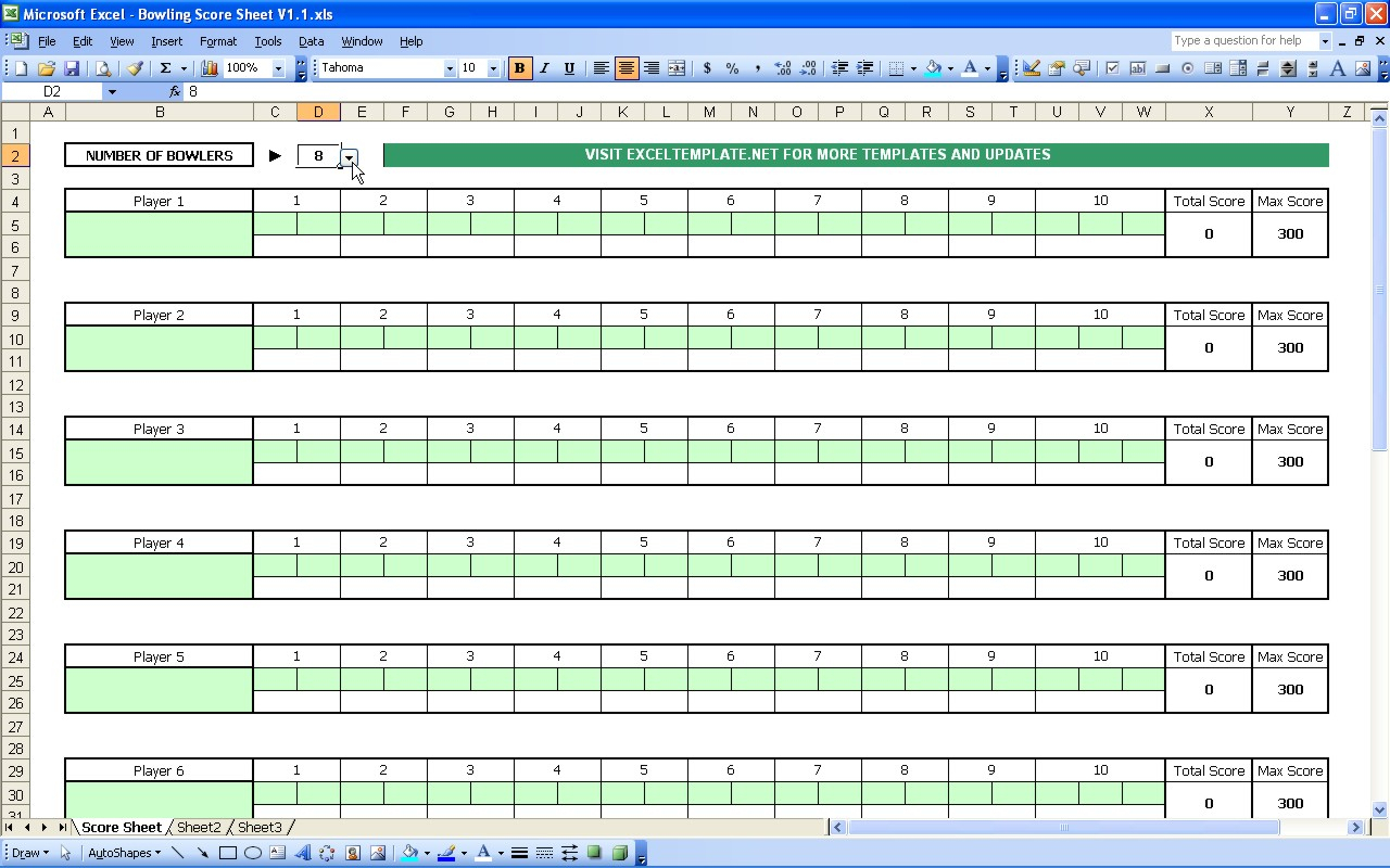 Bowling Spreadsheet With Regard To Bowling Score Sheet  Excel Templates