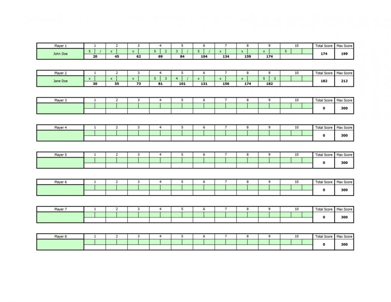 Bowling Stats Spreadsheet Intended For Bowling Scoring Sheet Excel  Cheapscplays