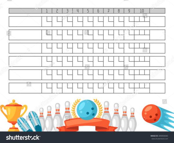 Bowling Stats Spreadsheet With Bowling Score Sheet Blank Template Scoreboard Stock Vector Royalty