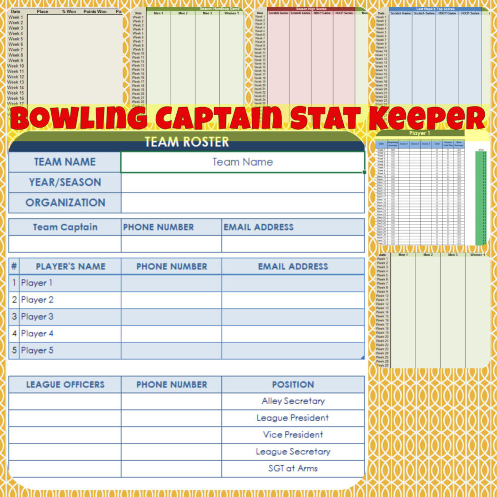 bowling stats spreadsheet bowling average spreadsheet  Bowling Stats Spreadsheet Within Bowling Captain Stat Keeper  Etsy Bowling Stats Spreadsheet Printable Spreadshee