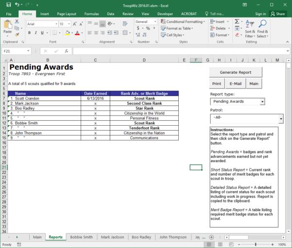 Boy Scout Merit Badge Tracking Spreadsheet In Scout Troop Management Database Troopwiz