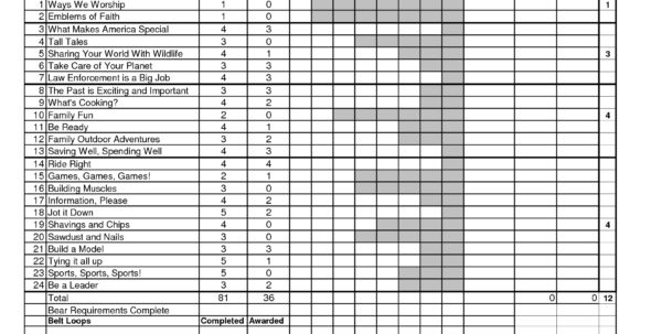 Boy Scout Merit Badge Tracking Spreadsheet Inside Boy Scout Budget Worksheet Bsa Rank Advancement Worksheets Troop