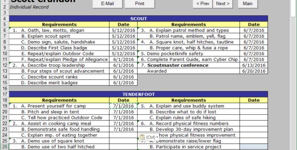 Boy Scout Merit Badge Tracking Spreadsheet Regarding Scout Troop Management Database Troopwiz