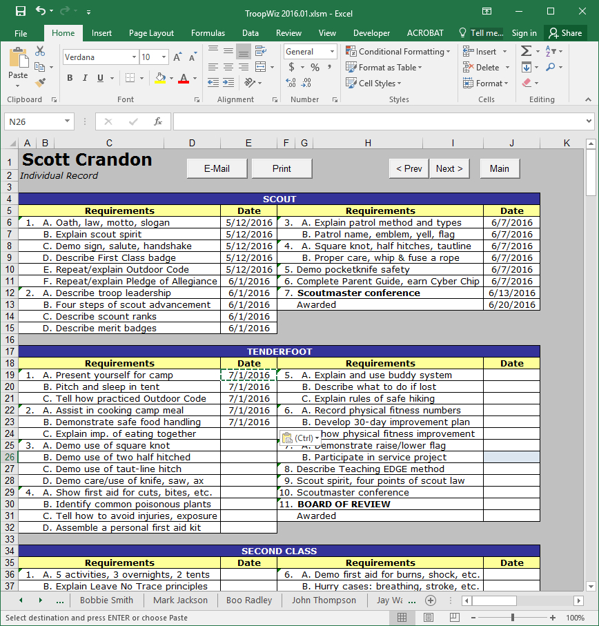Boy Scout Merit Badge Tracking Spreadsheet Regarding Scout Troop Management Database Troopwiz