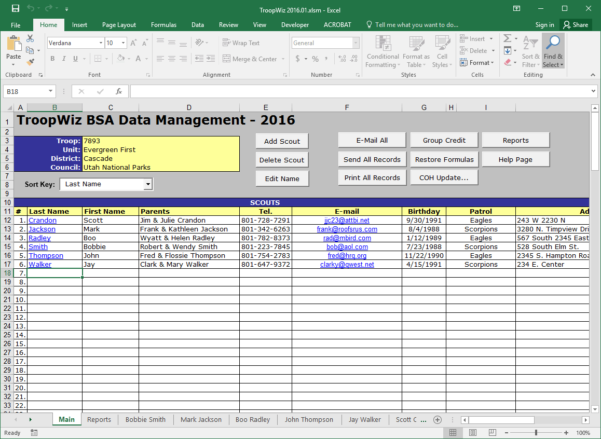 Boy Scout Merit Badge Tracking Spreadsheet With Scout Troop Management Database Troopwiz