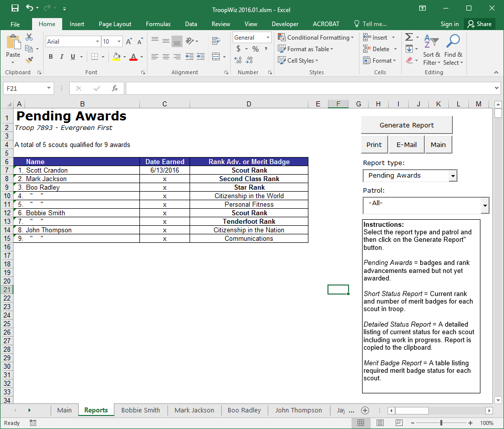 Boy Scout Troop Accounting Spreadsheet Intended For Scout Troop Management Database Troopwiz