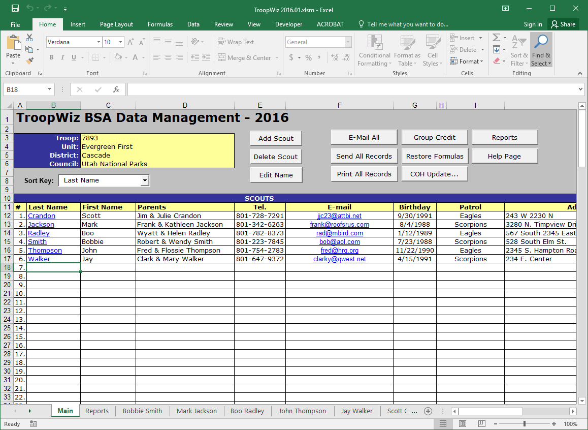 Boy Scout Troop Accounting Spreadsheet Regarding Scout Troop Management Database Troopwiz