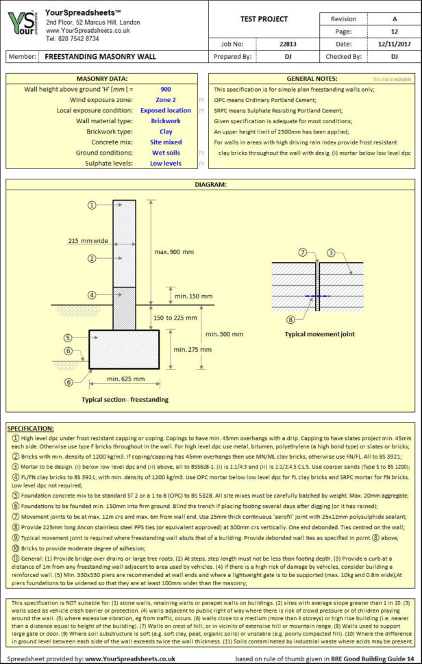 Bre 365 Spreadsheet Throughout Masonry Freestanding Wall  Quick Spec Spreadsheet To Bre Gbg 14