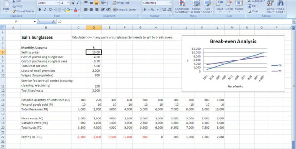 Break Even Spreadsheet Pertaining To Breakeven Analysis  Harts On Fire Breakeven Analysis  My Heart