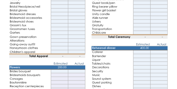 Bridal Budget Spreadsheet For Wedding Planner Spreadsheet Excel Fieldstationco Bridal Shower