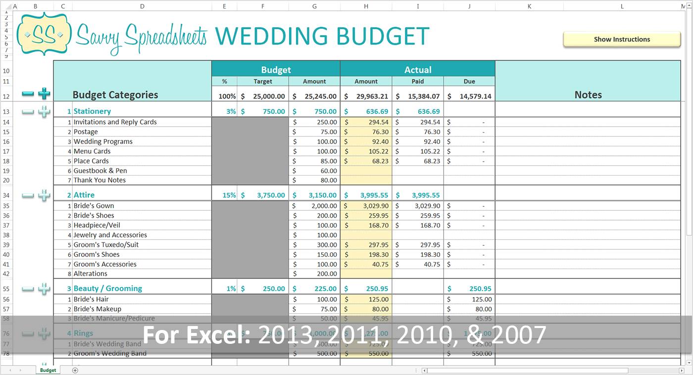 Bridal Budget Spreadsheet Intended For Wedding Planning Budget Spreadsheet Template Checklist Xls Australia