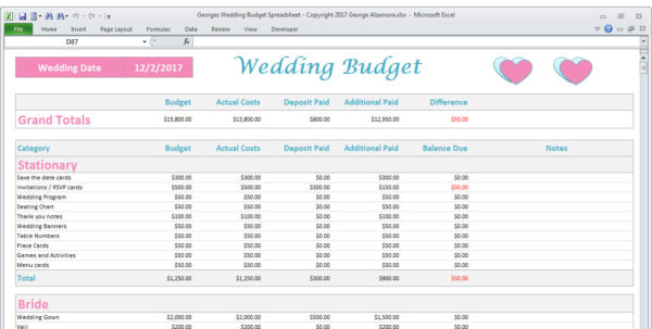 Bridal Budget Spreadsheet Throughout Wedding Budget Spreadsheet Planner Excel Wedding Budget  Etsy