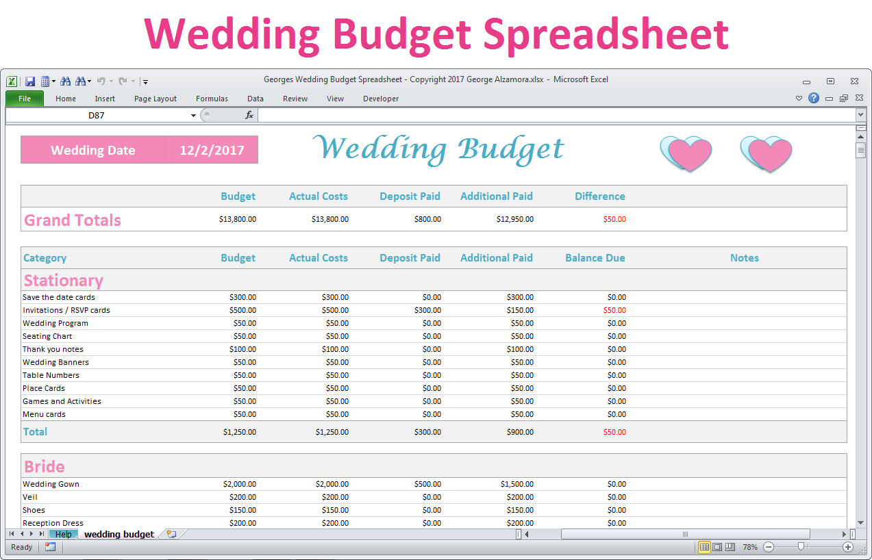 Bridal Budget Spreadsheet Throughout Wedding Budget Spreadsheet Planner Excel Wedding Budget  Etsy