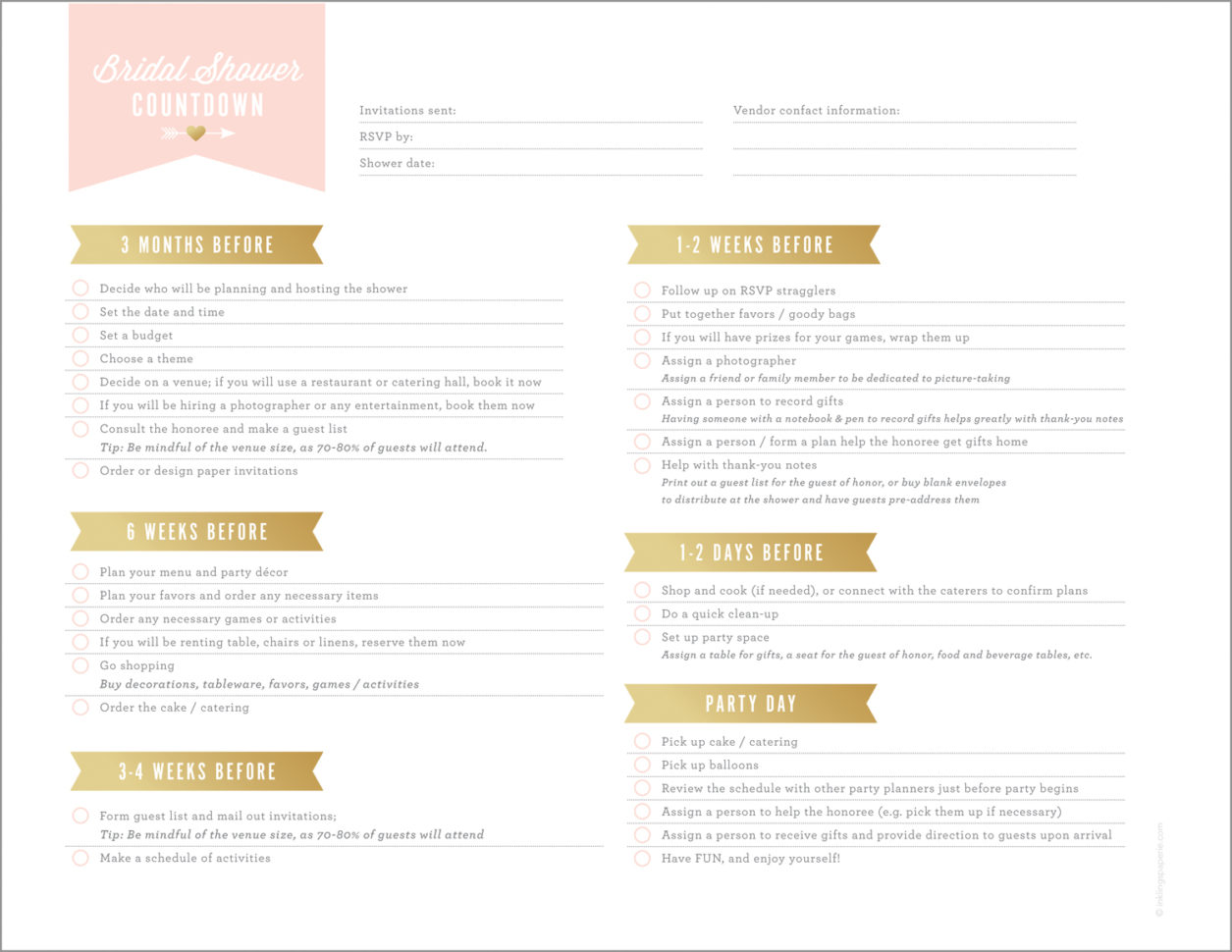 Bridal Shower Planning Spreadsheet In Free Printables For Bridal Shower Planning