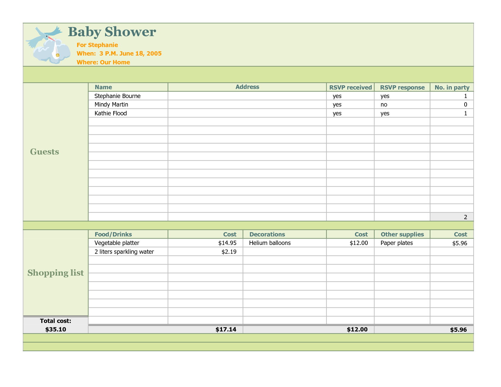 Bridal Shower Planning Spreadsheet In Photo : Baby Shower Registry Checklist Image