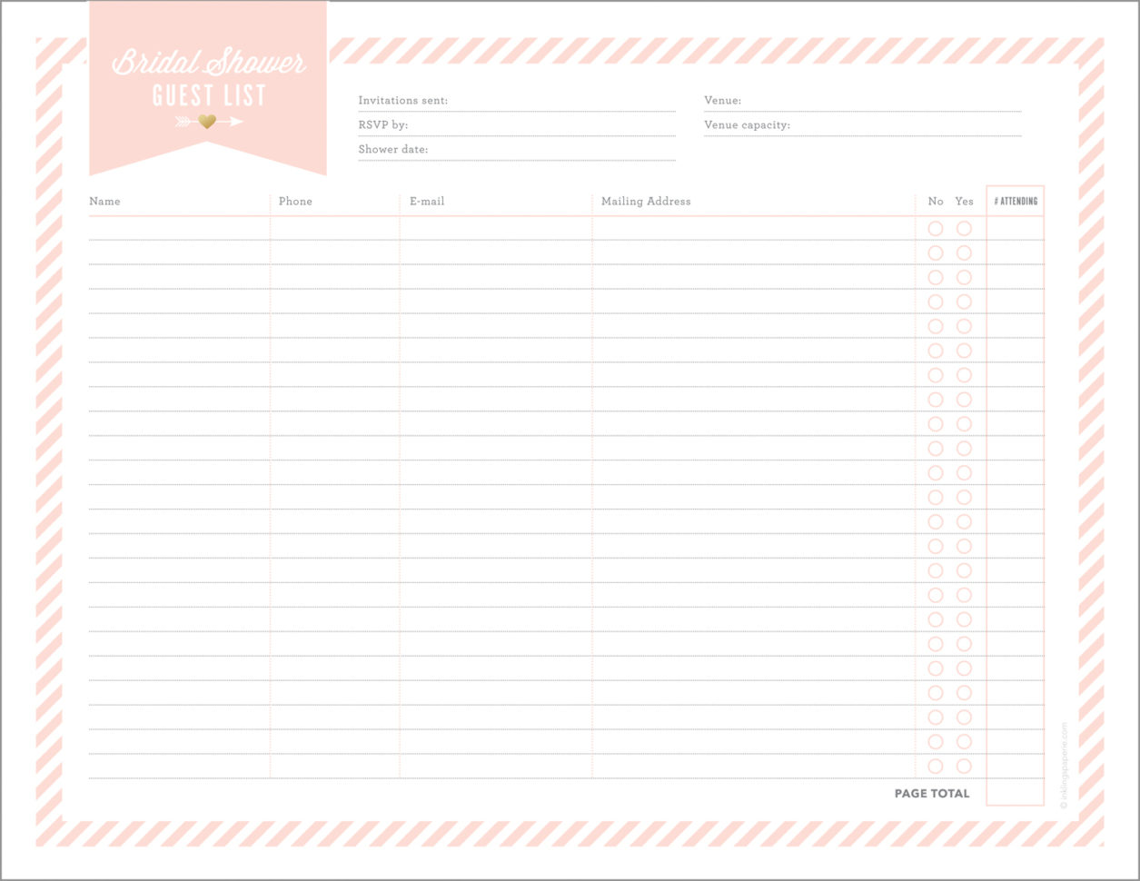 Bridal Shower Planning Spreadsheet Within Free Printables For Bridal Shower Planning