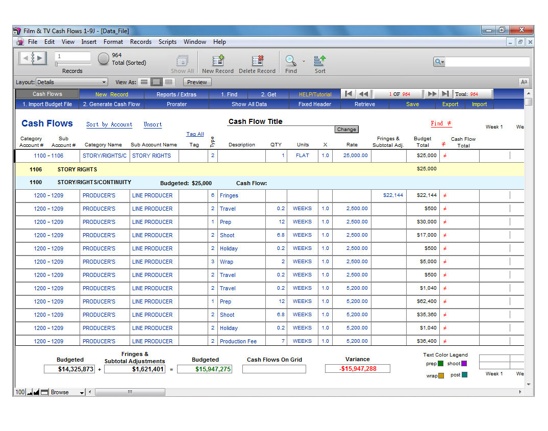 Budget And Cash Flow Spreadsheet Regarding Showbiz Cash Flows  Showbiz Software From Media Services