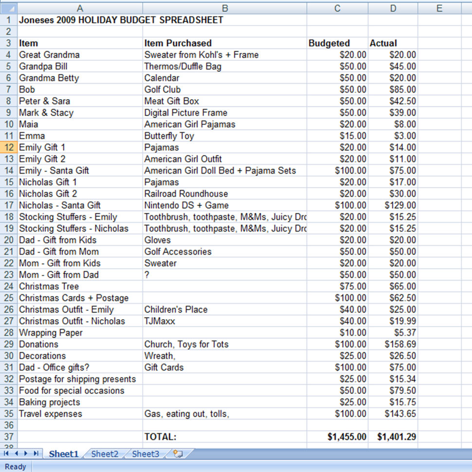 Budget And Expenses Spreadsheet With Create A Holiday Gift Expense Spreadsheet  Mommysavers