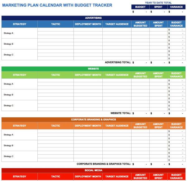 Budget Calendar Spreadsheet In Social Media Tracking Spreadsheet Template Marketing Plan Calendar