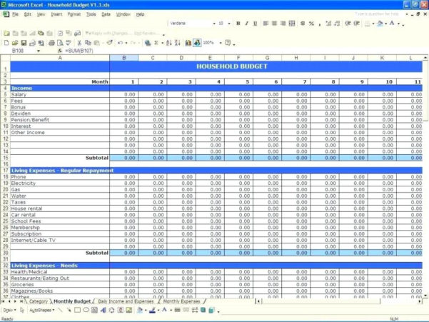 Budget Expenses Spreadsheet Regarding Bills Spreadsheet Template Budget Planner Worksheet Monthly Free