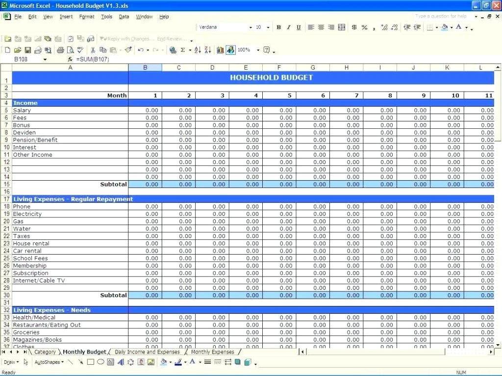 Budget Expenses Spreadsheet Regarding Bills Spreadsheet Template Budget Planner Worksheet Monthly Free