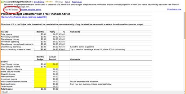Budget Spreadsheet Google Docs Regarding Spreadsheet Google Docs Budget Template Household Worksheet L