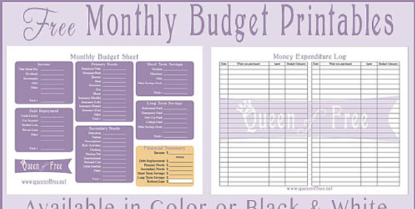 Budget Spreadsheet Printable Within Free Printable Budget Worksheet  Queen Of Free