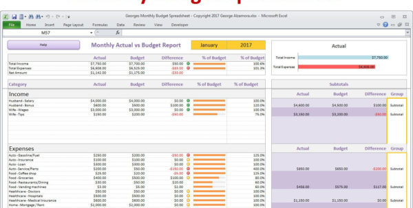 Budget Vs Actual Spreadsheet With Regard To Monthly Budget Spreadsheet Planner Excel Home Budget For  Etsy