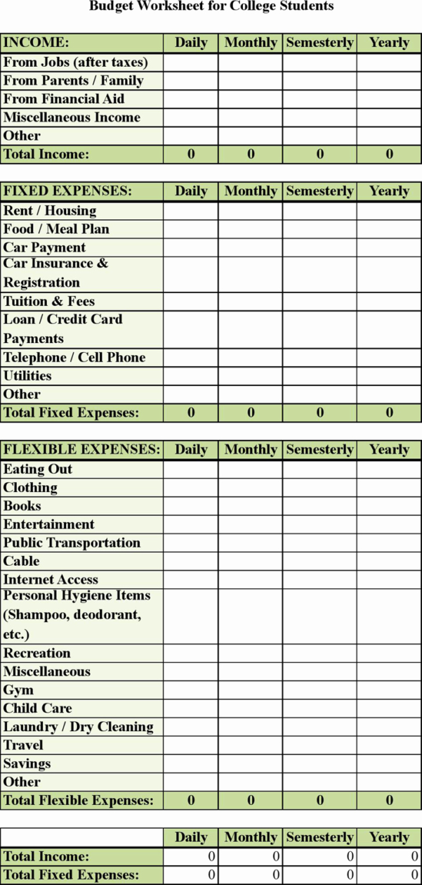 Budgeting For University Spreadsheet For Spreadsheet Example Of College Student Budget Template Awesome Basic