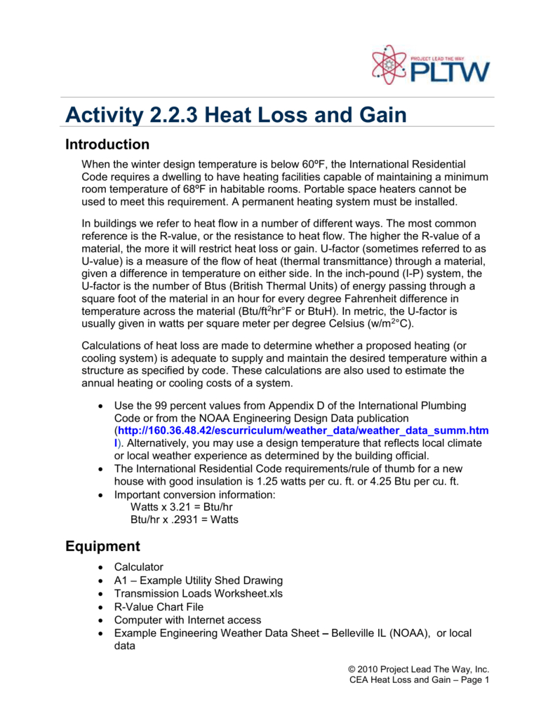Building Heat Loss Calculation Spreadsheet Regarding Activity 2.2.3 Heat Loss And Gain