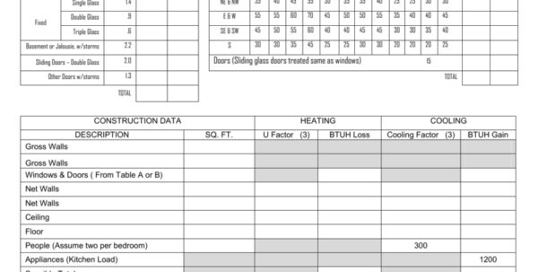 Building Heat Loss Calculation Spreadsheet Throughout Heat Loss Calculation Worksheet  Livinghealthybulletin