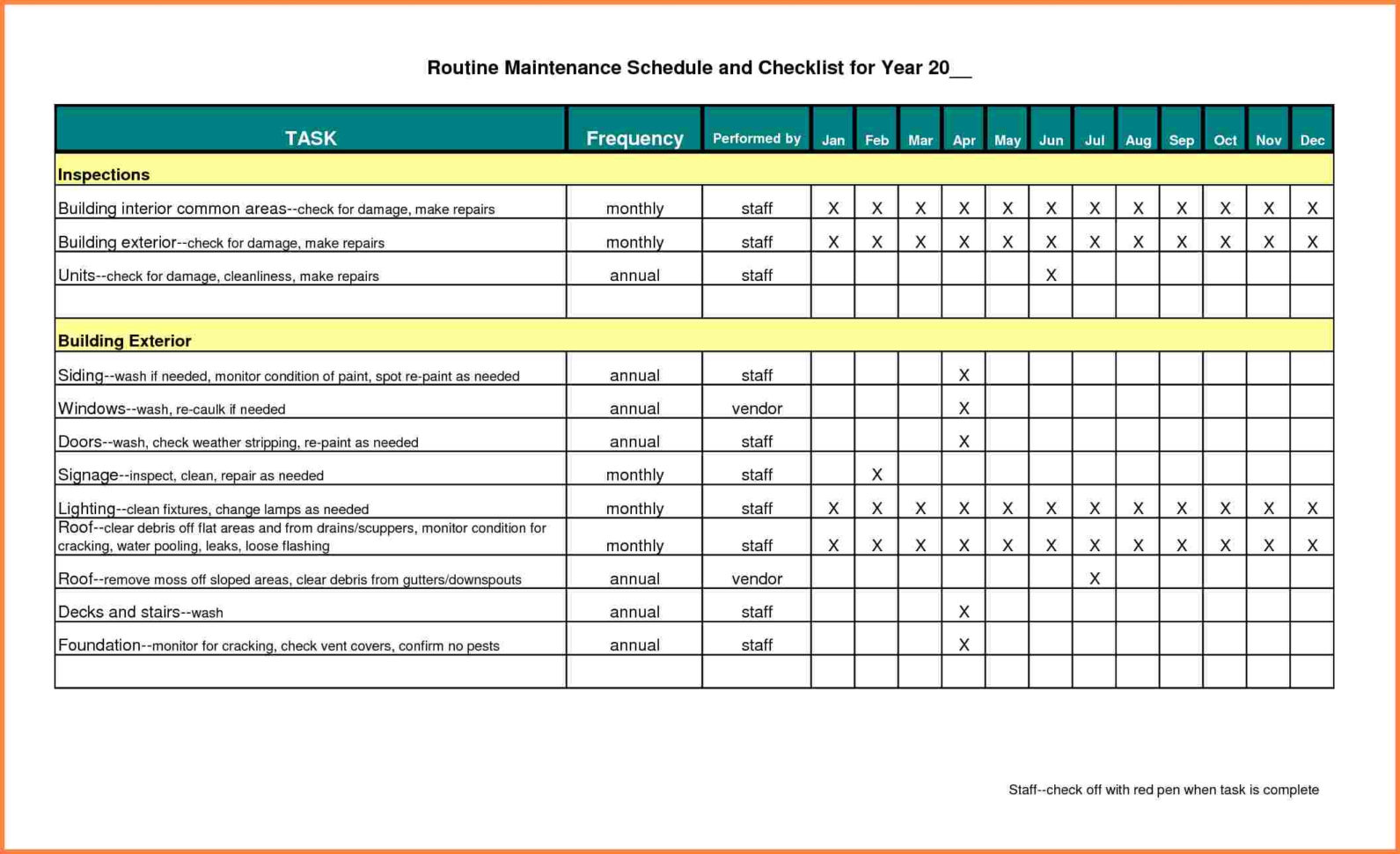 Building Maintenance Costs Spreadsheet Pertaining To Example Of Maintenance Tracking Spreadsheet Building Schedule Excel