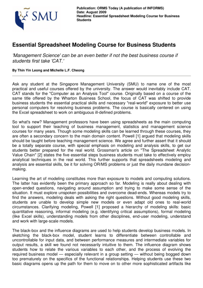 Business Analytics The Art Of Modeling With Spreadsheets Pdf Regarding Pdf Essential Spreadsheet Modeling Course For Business Students
