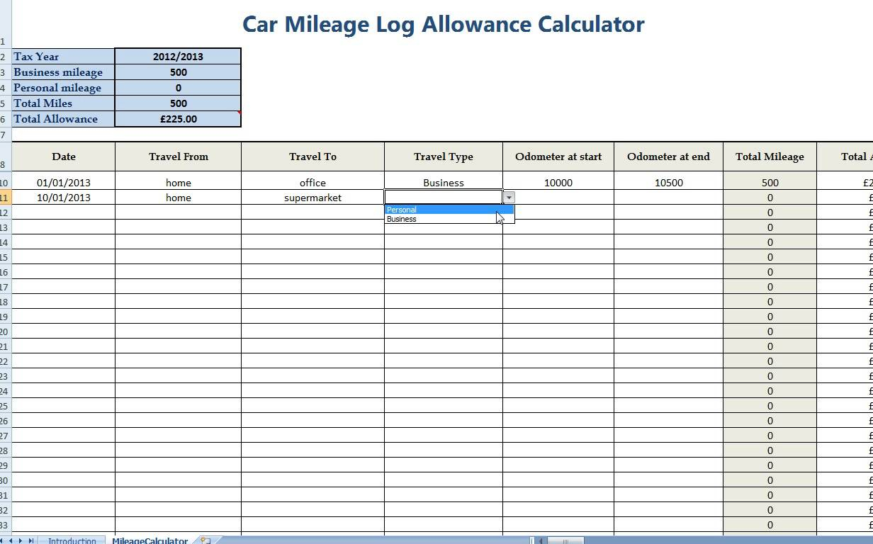 Business Mileage Spreadsheet Pertaining To Free Mileage Log Template For Taxes  Homebiz4U2Profit