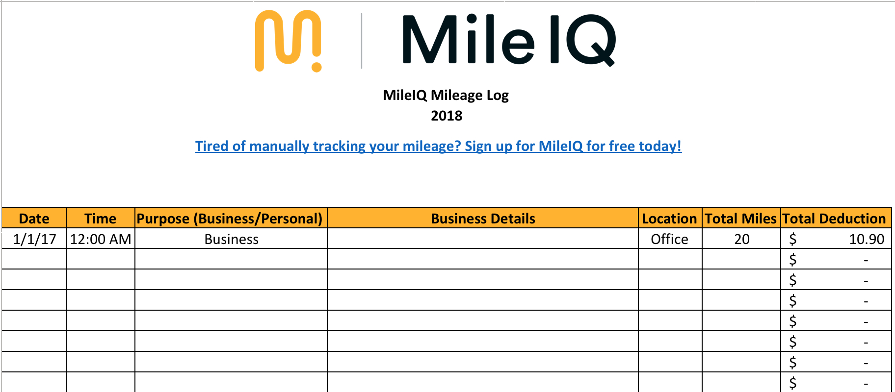 Business Mileage Spreadsheet Regarding Free Mileage Log Template For Excel  Track Your Miles