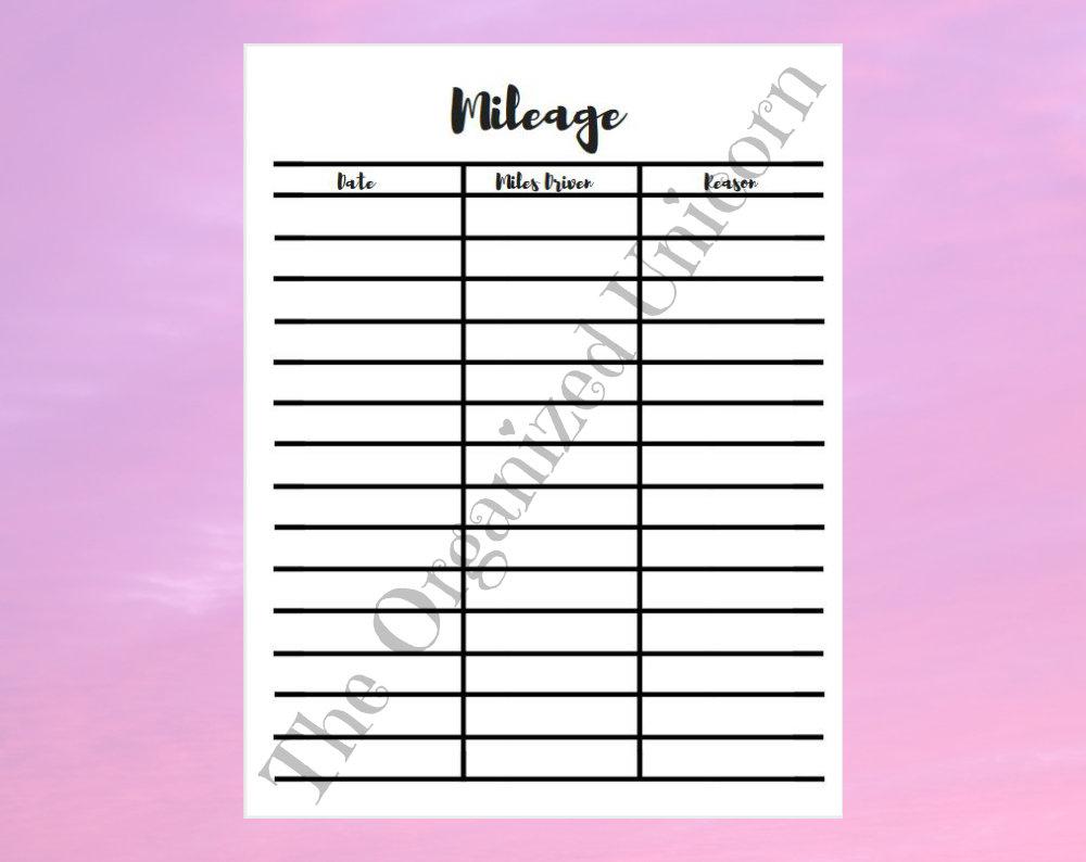 Business Mileage Spreadsheet Regarding Mileage Worksheet Mileage Spreadsheet Business Mileage  Etsy