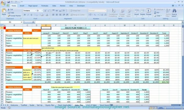 Business Plan Spreadsheet Example Throughout Business Plan Spreadsheet Template As Well Financials Excel Free