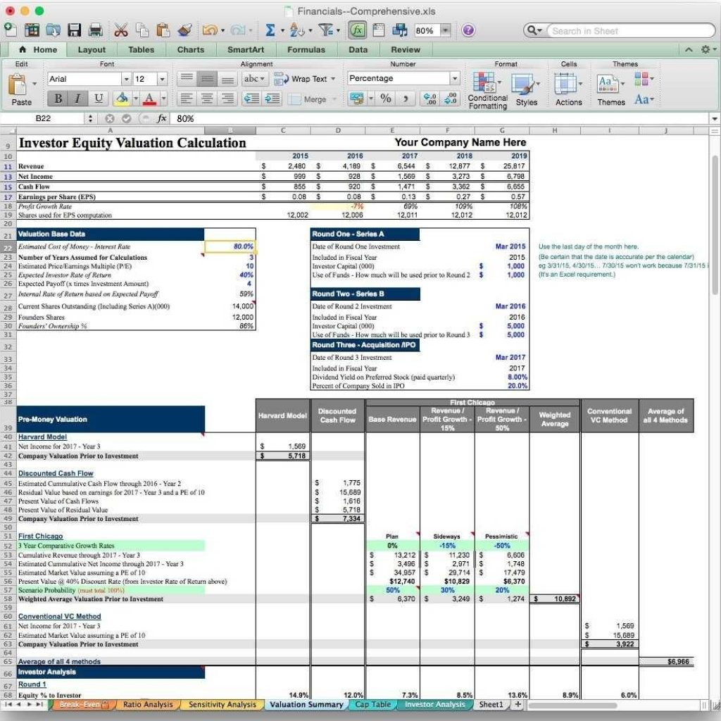 Business Valuation Spreadsheet Excel With Regard To Business Valuation Spreadsheet Model Excel Free Report Template Uk