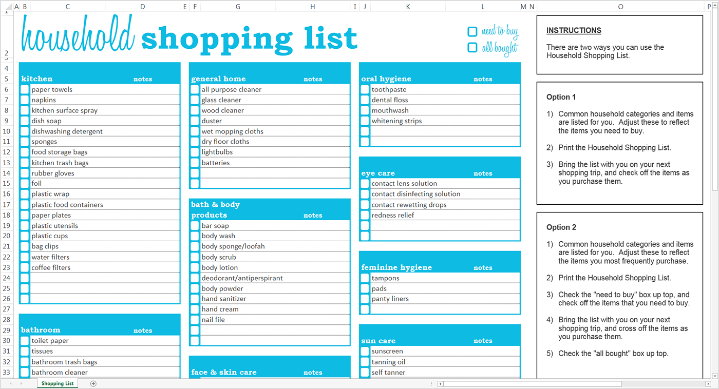 Buy Spreadsheets Regarding Household Shopping List  Excel Template  Savvy Spreadsheets