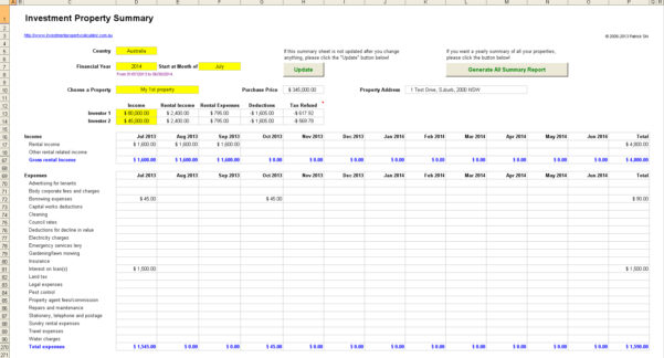 Buy To Let Investment Spreadsheet Inside Rental Investment Property Record Keeping Spreadsheet