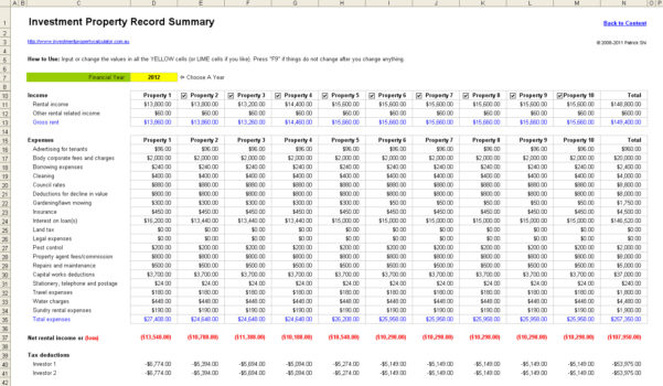 Buy To Let Investment Spreadsheet Within Free Rental Property Management Spreadsheet In Excel