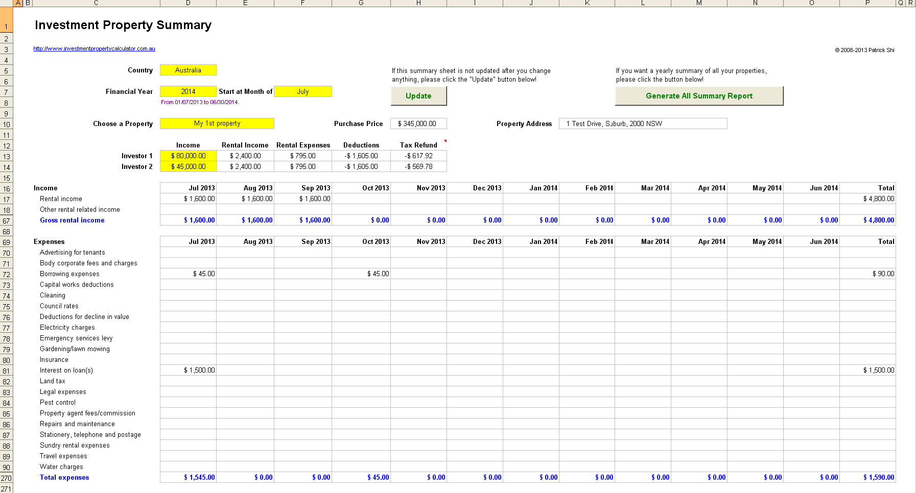 Buy To Let Spreadsheet In Rental Investment Property Record Keeping Spreadsheet
