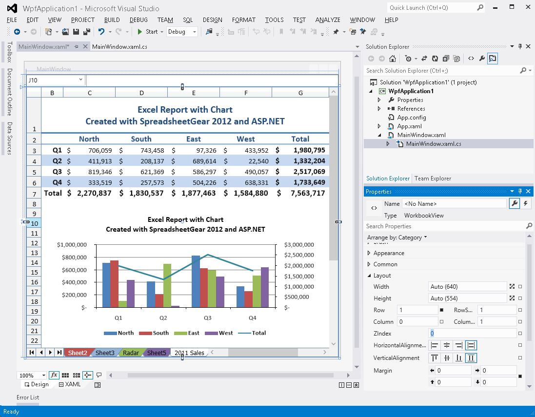 C# Spreadsheet Control In Excel Compatible Windows Forms, Wpf And Silverlight Samples For