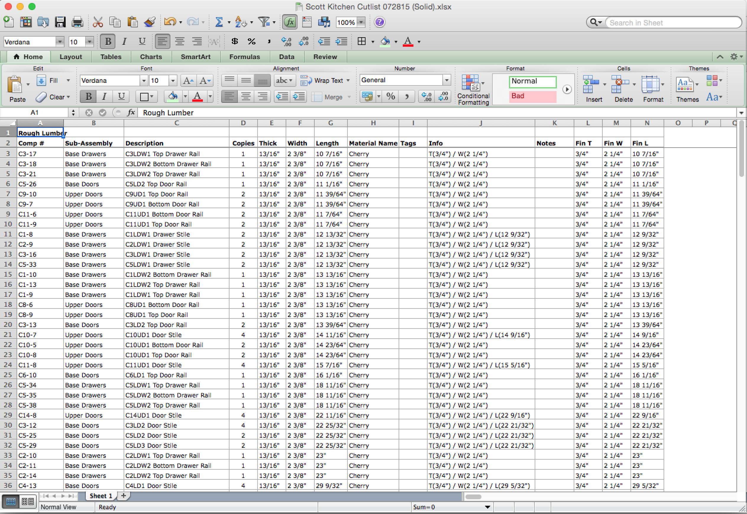 Cabinet Cut List Spreadsheet Regarding Production Documentation – Cabwriter