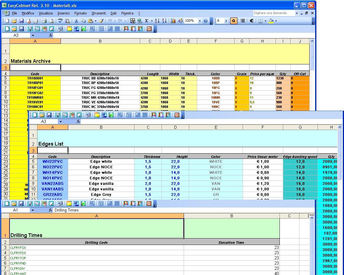 Cabinet Cut List Spreadsheet Regarding Spai Software Srl.