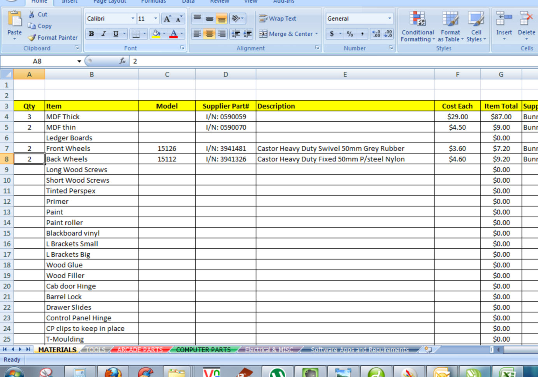 Cabinet Cut List Spreadsheet Within Retro5 Arcade  Custom Arcade Cabinet Build — Www.retro5Online