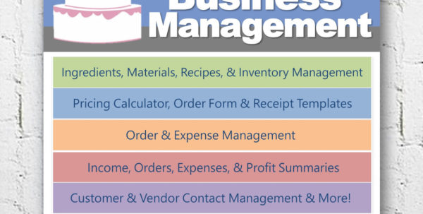 Cake Pricing Excel Spreadsheet Throughout Cake Decorating Home Bakery Business Management Software  Etsy